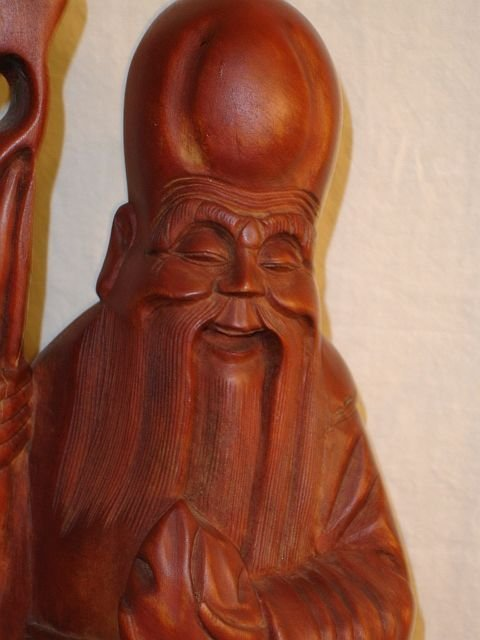 213: Wood Carved Monk Statue