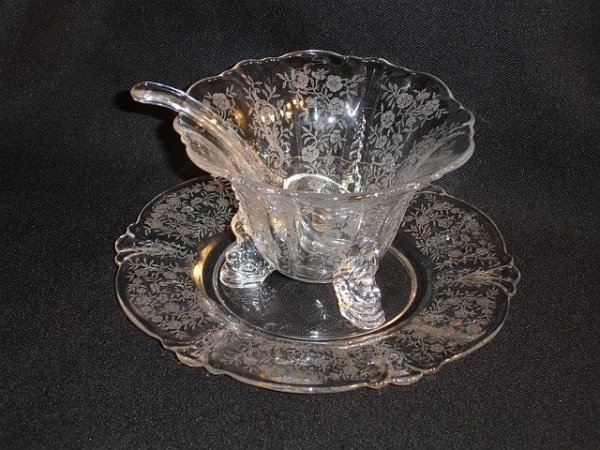 224: Heisey Etched Dolphin Foot Bowl W/ Ladle, Plate