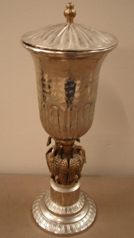 1: Silver / brass covered urn