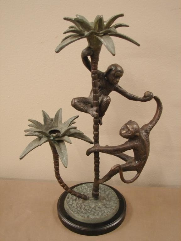 2: Bronze monkey two candle holder