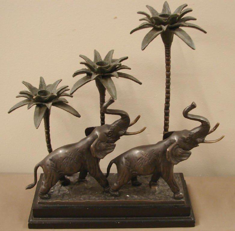 3: Bronze elephant three candle holder