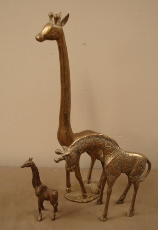 4: Lot of three brass giraffes
