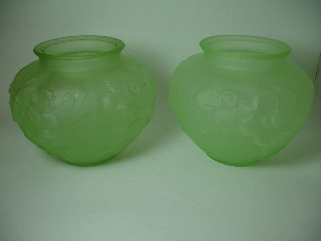 "6: Pair Tiffin glass ""Poppy"" vases, green satin"
