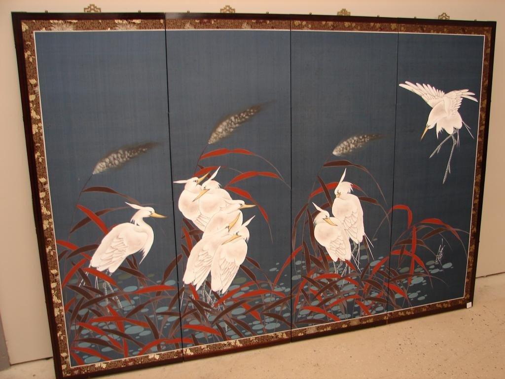 17: Four-panel silk-screened wall hanging