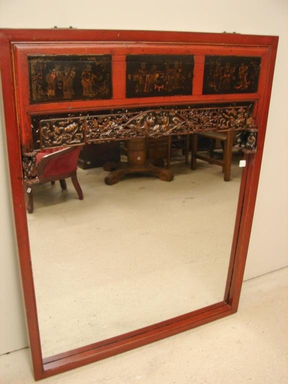 21: Lacquer-painted framed mirror with fretwork