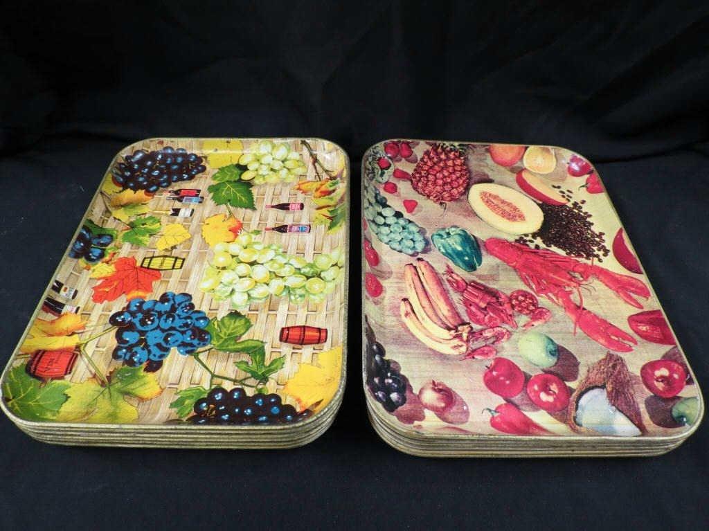 23: Two sets (six each) vintage fiberglass trays