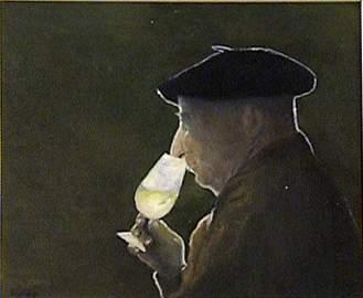 67: Lafay, Man Drinking Wine, Oil on Canvas