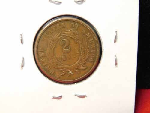 1864 Two Cents coin - 'We' visible on ribbon - 2