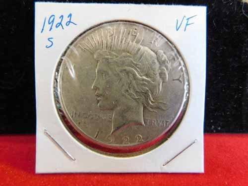1922-S Peace Silver Dollar VF