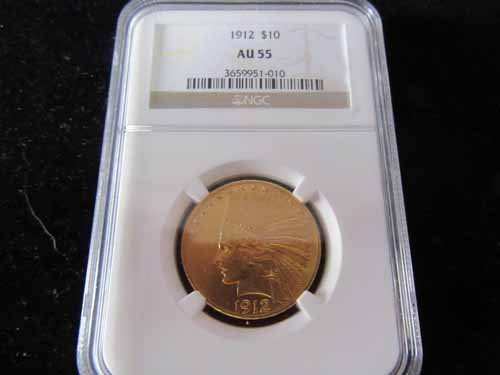 1912 $10 Gold Indian Graded AU55 by NGC