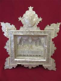 Antique Mother-of-Pearl Icon of the Last Supper