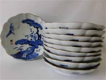 Set of 10 Arita Ware Blue Dishes