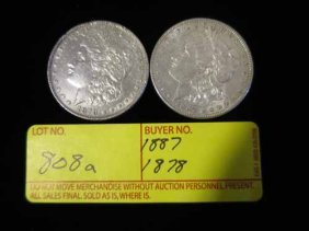 1887 And 1878 Morgan Dollars