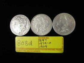 1879-o, 1897, And 1904 Morgan Dollars