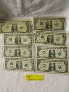 8 1 Dollar Bills, 3 Star Notes And 5 Bar Notes