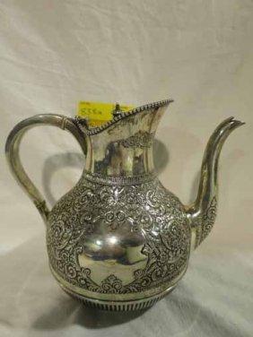 Sterling Tea Pot, Highly Engraved
