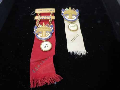 American R.R. convention and committee pins circa 1907.