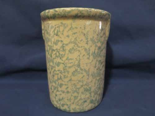 Clay City blue speckled pottery, 6x4.5 in.
