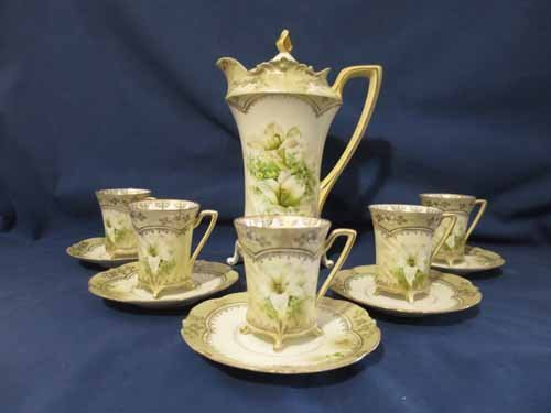 R.S. Prussia Chocolate set with floral designs, 5 cups