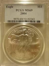 2004 Silver Eagle PCGS MS69