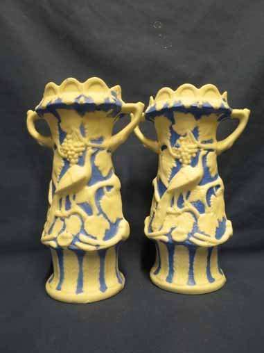 Parian Pottery: Pair of Blue & White Vases with