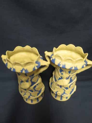 Parian Pottery: Pair of Blue & White Vases with - 2