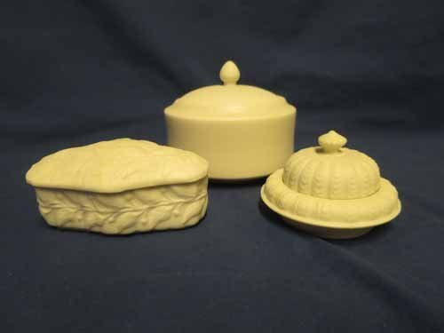 Parian Pottery: Leaf Design Covered Dish, Plain Covered