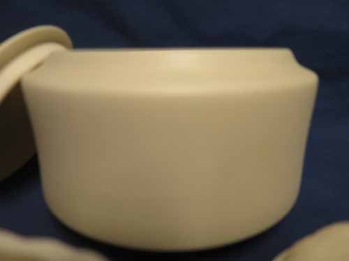 Parian Pottery: Leaf Design Covered Dish, Plain Covered - 4