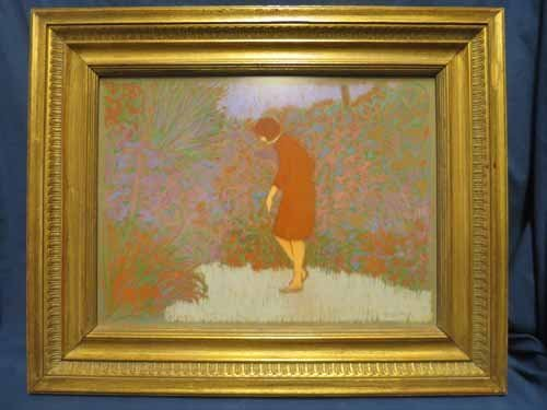 Pastel Art of Woman in Garden by William Anzalone.