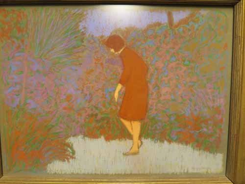 Pastel Art of Woman in Garden by William Anzalone. - 2