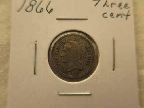 1866 Three Cents RP
