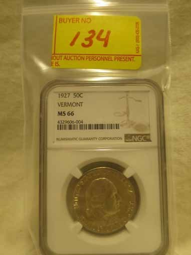 1927 Vermont Commemorative Half Dollar NGC MS66 28,142