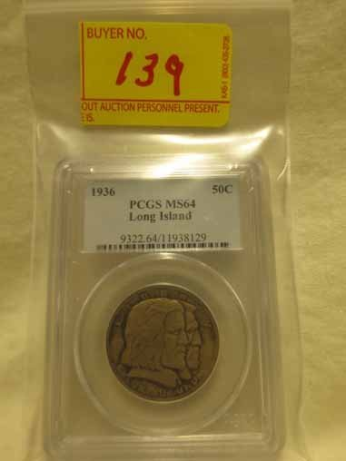 1936 Long Island Commemorative Half Dollar PCGS MS64