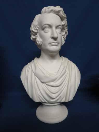 Parian bust of Charles Sumner.