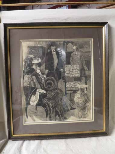 Gordon H. Grant signed Drawing of Victorian Woman, and