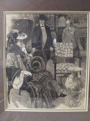 Gordon H. Grant signed Drawing of Victorian Woman, and - 2