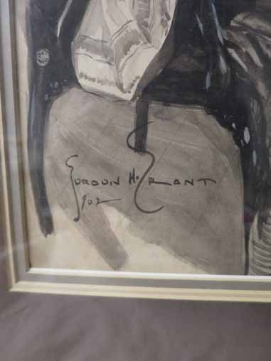 Gordon H. Grant signed Drawing of Victorian Woman, and - 3