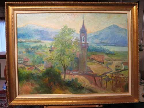Oil on Canvas Chapel in the Meadow Signed Xavier Ponsa