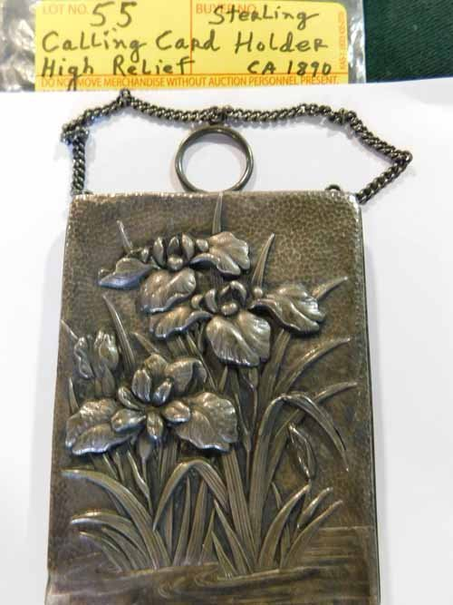 Sterling Silver Calling card holder, high relief CA