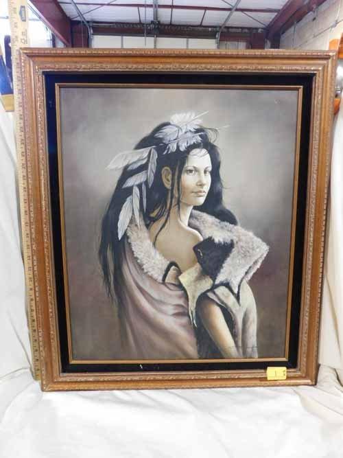 Framed Oil on Canvas Native Woman Art work