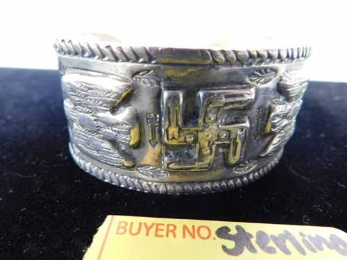 Overlaid Tribal Sterling Silver Bracelet Cuff - 2