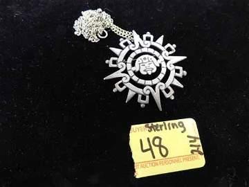 Sterling Silver Mandala Style Native Necklace