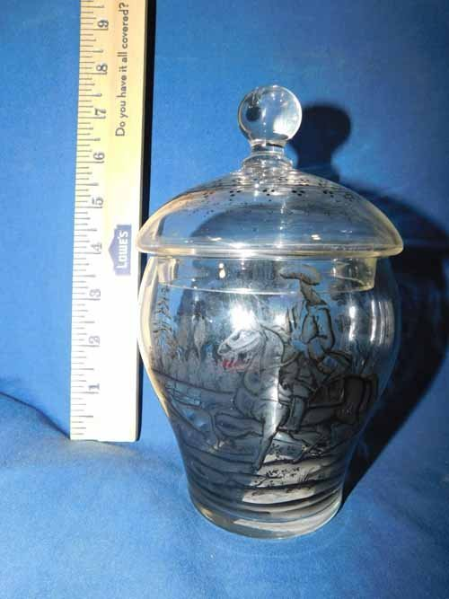 Hand painted glass ginger jar