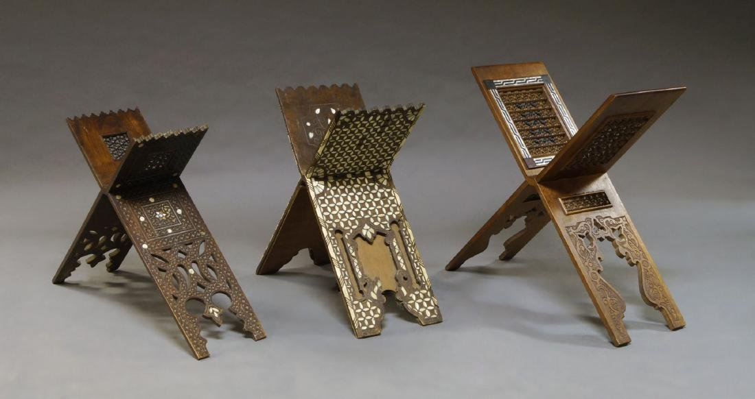 Three wooden qur'an stands, Syria, late 19th-20th