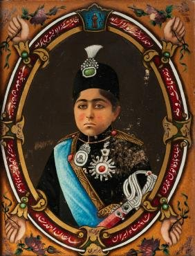 A reverse glass portrait of Ahmed Shah (1898-1930),