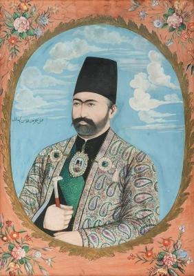 A watercolour of a Qajar Nasser Al-Din Shah, Iran, 19th