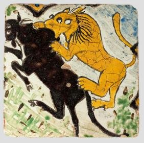 A late Safavid tile, Iran, 17th century, of square