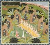 Sudama and friends feast in the hovel KangraGarhwal