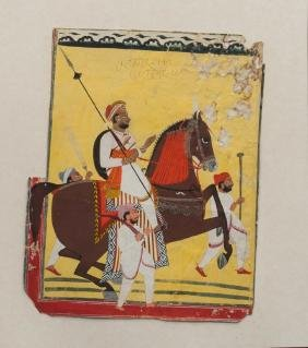 A portrait of a Maharaja on horseback, Johdpur, late