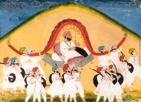 A nobleman carried in a palanquin across a hillside